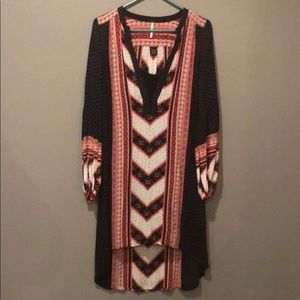 Free People Red, White, Blue High/Low Shirt/Tunic